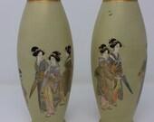Stunning Antique Japanese Satsuma Pair Vases - Kinkozan