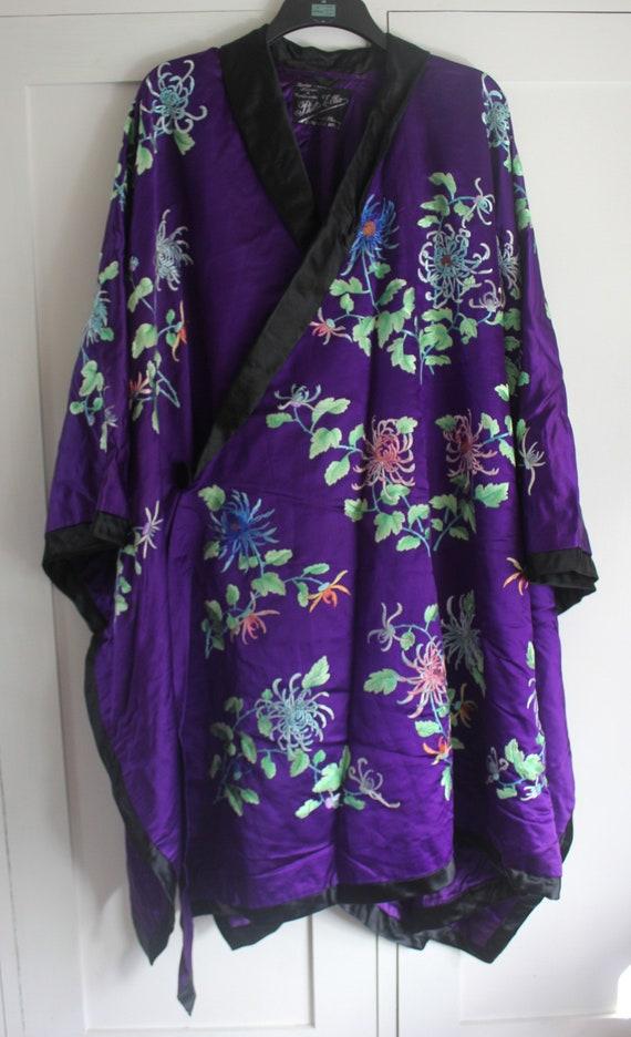 Antique Embroidered Silk Satin Couture Opera Coat