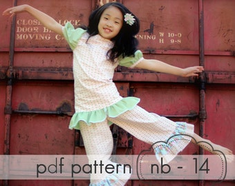 Everyday Princess Top with Puff Sleeves - nb - 14 and doll - pdf sewing pattern