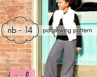 Girls Wideleg Pants, Capris and Shorts - INSTANT DOWNLOAD - nb through 14 + doll, 3 length options - pdf sewing pattern