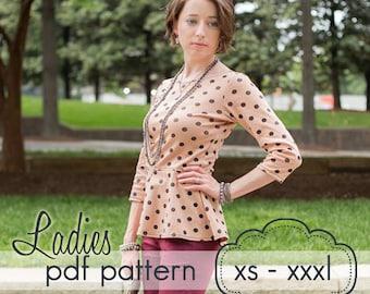 Ladies Peplum Top - INSTANT DOWNLOAD - xs through xxxl - pdf sewing pattern