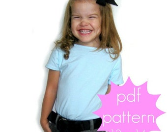 Easy Cap Sleeve Tee - INSTANT download - PDF Sewing Pattern -12m - 14 and doll/preemie