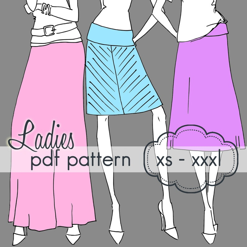 Ladies Yoga A-Line Skirt  INSTANT DOWNLOAD  xs through xxxl image 0