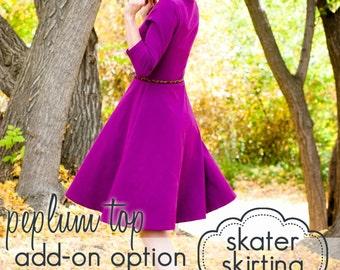 Ladies Peplum Top - Skater Skirt Add-on - INSTANT DOWNLOAD - xs through xxxl - pdf sewing pattern