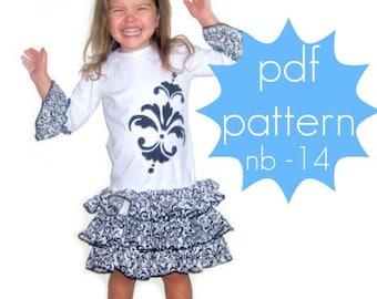 Triple Ruffle T-Shirt Dress Tutorial - INSTANT download - nb-14 - pdf sewing pattern