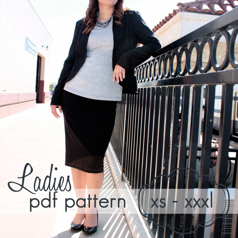 Ladies Knit Pencil Skirt  INSTANT DOWNLOAD  xs through xxxl image 0