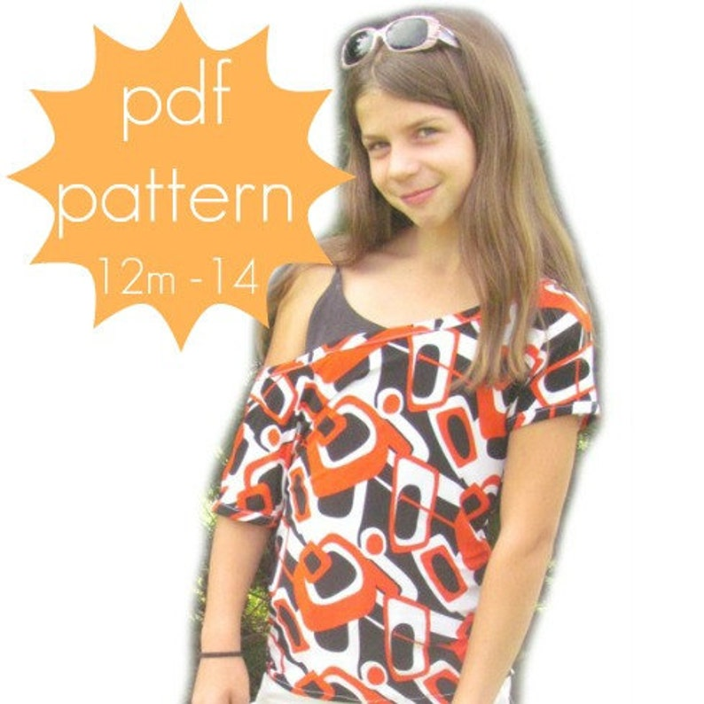 Trendy Tee  INSTANT download  off the shoulder  PDF Sewing image 0