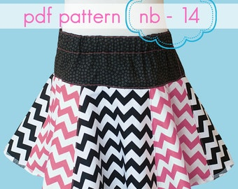 Twirl Your Heart Out 6 Panel Skirt - INSTANT download - pdf sewing pattern - nb - 14 and doll