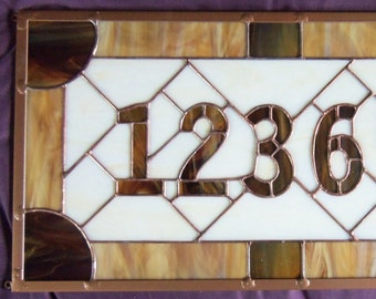 Address Plaque, Hand Made Stained Glass Home Address, Custom Mailbox Numbers, Entry House Number, Stained Glass Window Panel, Number Art