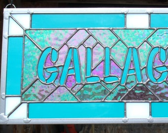 Custom Surname Sign, Stained Glass Window Panel, Artist for Hire