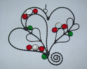 Wire Hearts Sun Catcher with Green, Red and Clear Glass Cabochons, Valentine Gift