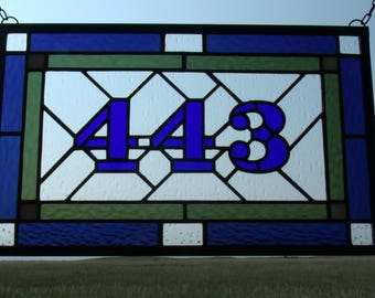 Custom Stained Glass Home Address Panel, Address Plaque, Entryway Numbers