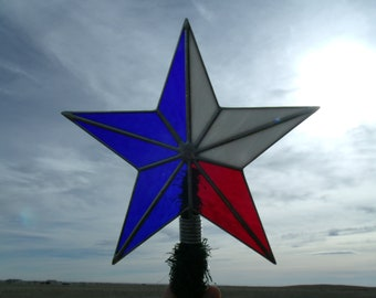 Patriotic Christmas Tree Topper, Stained Glass Texas Flag Star