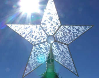 Glass Star Christmas Tree Topper, Classic 5 Point Star, Custom Stained Glass Tree Toppers
