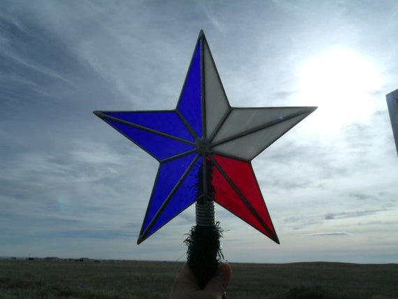 Patriotic Christmas Tree Topper, Stained Glass Texas Flag Star - Patriotic Christmas Tree Topper Stained Glass Texas Flag Star Etsy