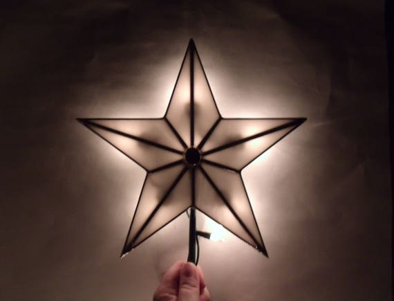 image 0 - White Stained Glass Five Point Star Christmas Tree Topper With Etsy