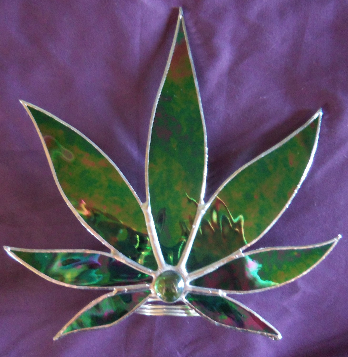 Marijuana Leaf Christmas Tree Topper Free Standing Stained ...