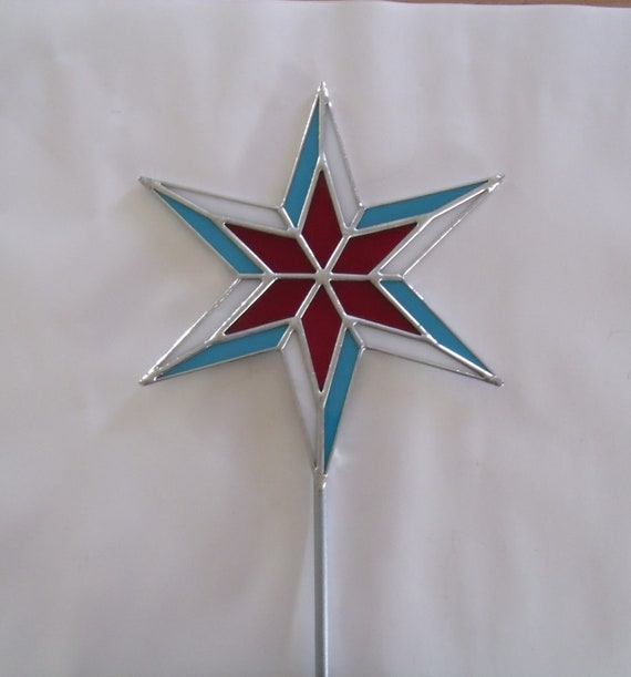 Stained Glass Chicago Star Christmas Tree Topper - Stained Glass Chicago Star Christmas Tree Topper Etsy