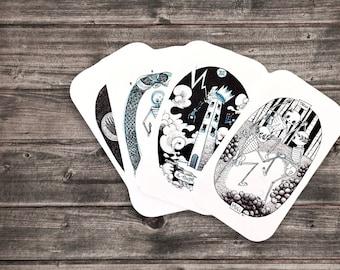 Skeleton Tarot Deck | Skeleton Tarot Collection | Cat Rocketship | Tarot Cards, Hand Drawn, Divination, Reading | Gift for Them, Him, Her