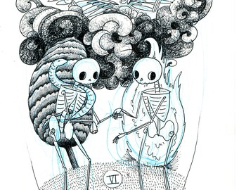 The Lovers Skeleton Tarot Print