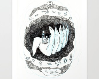 The Wheel Skeleton Tarot Print