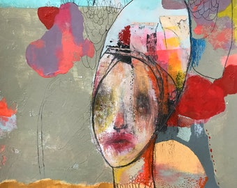 """ORIGINAL Mixed Media Painting on Paper, Contemporary Figurative Art ,   by Christina Romeo......""""All Yours"""""""