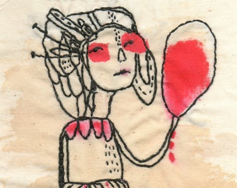 "Original Embroidery Art , Mixed Media Textile Art by Christina Romeo , Modern Wall Art - ""Timid"""