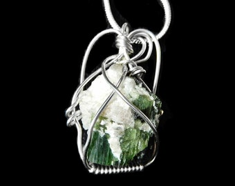 Raw Green Black Tourmaline crystal pendant, Sterling wire silver wrapped
