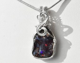 Dark Boulder Opal pendant, Sterling silver wire wrapped pendant, Australian opal