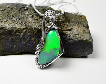 Andamooka Crystal Opal doublet, gem green pinfire, sterling silver wire wrapped pendant