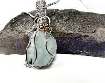 Raw Aquamarine and Tourmaline pendant, Sterling silver, gold wire wrapped double sided pendant, blue natural crystal gemstone