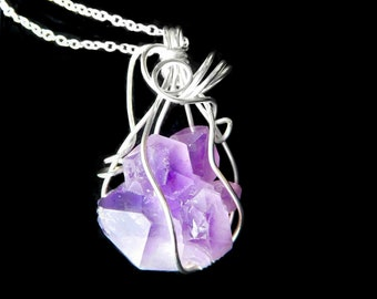 Raw Amethyst pendant, sterling wire wrapped, chakra gemstone necklace, purple cluster crystal gemstone