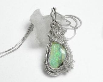 Australian Boulder opal pendant, green flash sterling silver wire weave wrapped pendant wonderful opal gift