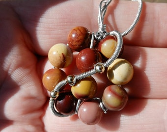 Mookaite beads pendant, Sterling silver wire wrapped pendant necklace, circle gemstone beads necklace