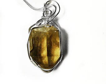 Smoky Citrine crystal point Sterling silver wire wrapped pendant, chakra pendant