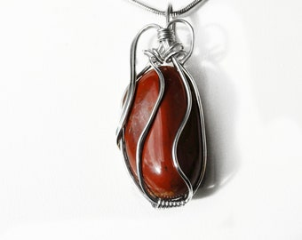 Red Jasper Sterling silver, wire wrapped, gemstone pendant