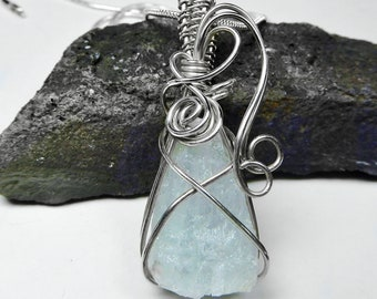 Raw Aquamarine pendant, Sterling silver wire wrapped pendant, designer natural crystal gemstone
