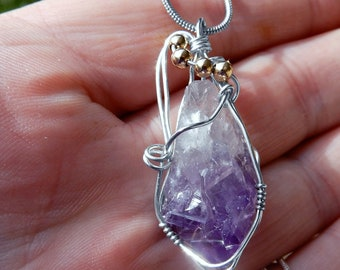 Raw Amethyst crystal point pendant, sterling wire wrapped, 14k  gold filled chakra gemstone necklace