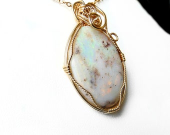 Boulder Opal pendant 17.35ct 14k gold filled, wire wrapped opal, large handcrafted Eromanga white opal pendant