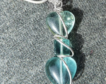 Two heart Fluorite pendant, Sterling wire wrapped unisex pendant, natural gemstones