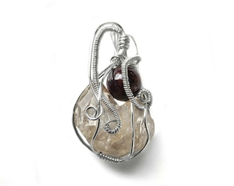 Twin Quartz crystals Garnet pendant, Sterling silver wire wrapped pendant, natural gemstones