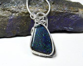 Andamooka Matrix Opal, gem green blue pinfire, sterling silver wire wrapped pendant