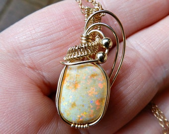 Beautiful Honey Opal pendant, 4.96 ct Andamooka Matrix Opal, 14k gold fill wire wrapped unique pendant