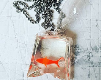 Fairground Goldfish in a Bag Necklace