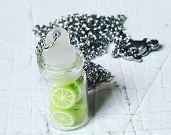 Lime Slices Jar Necklace