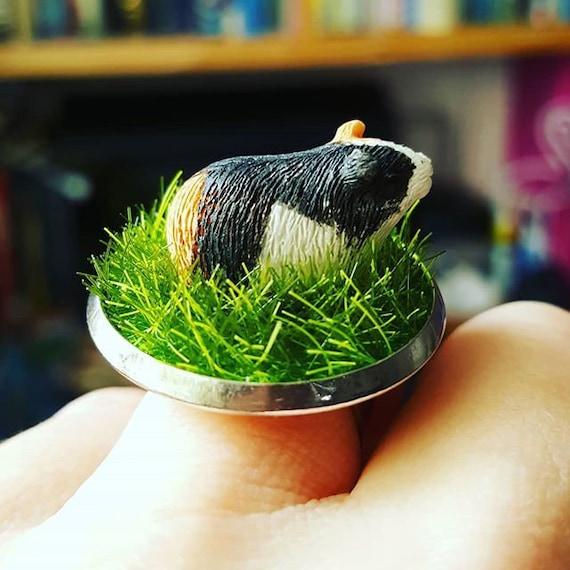 Unique MINI GUINEA RING handmade 3D adjustable GUINEA PIG grass PET lawn CUTE!