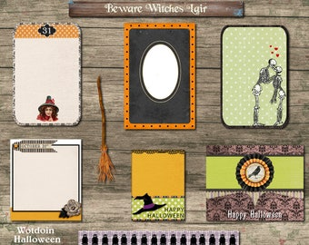 Halloween Journal Spots Witch Broom Skeletons Hats Owls Photo Frame Printable Digital Collage Sheet Junk Journals Scrapbooking Mini Albums