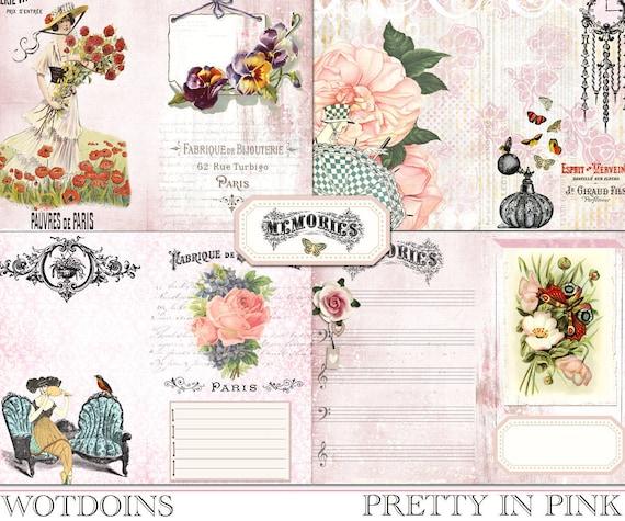 Junk Journal Pages Junk Journal Supply Instant Download Junk Journal Floral Frame Background Papers