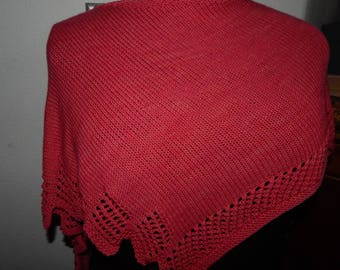 Handknit Lace Edged Shawl