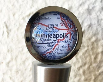 Minneapolis Map Wine Stopper Stainless Steel - You choose your favorite map out of 25 choices - Custom map wedding favors or wedding gift